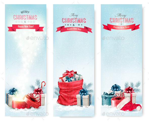 Holiday Christmas Banners with Presents - Christmas Seasons/Holidays