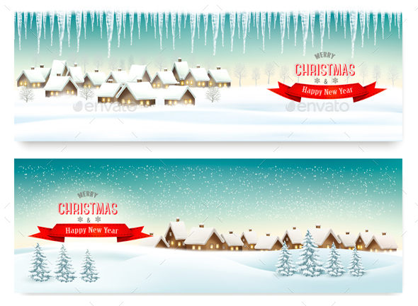 Holiday Christmas Banners with Villages - Christmas Seasons/Holidays