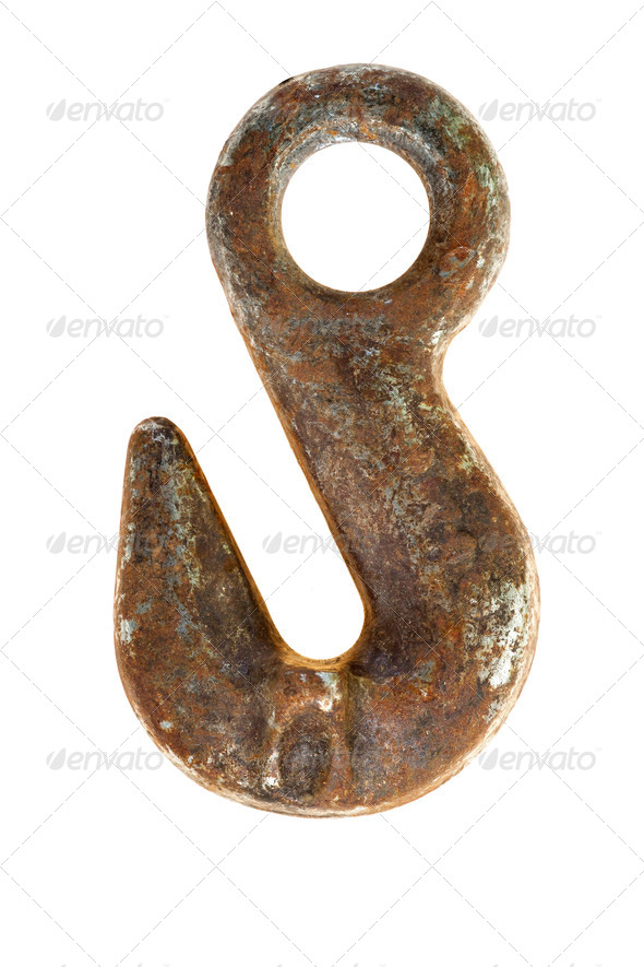 old rusty hook on white background - Stock Photo - Images