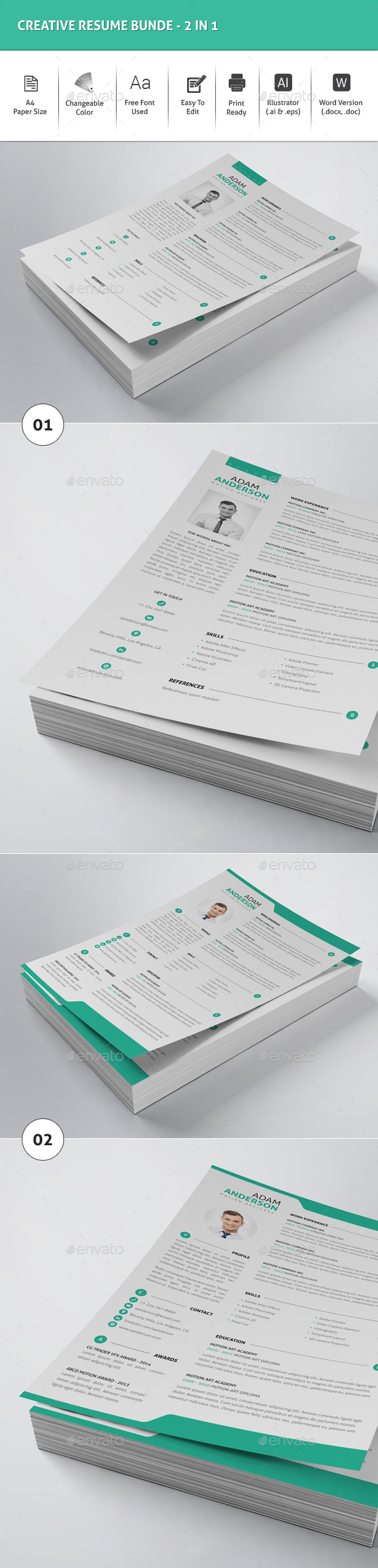 Creative Resume Bundle -2in1 - Resumes Stationery