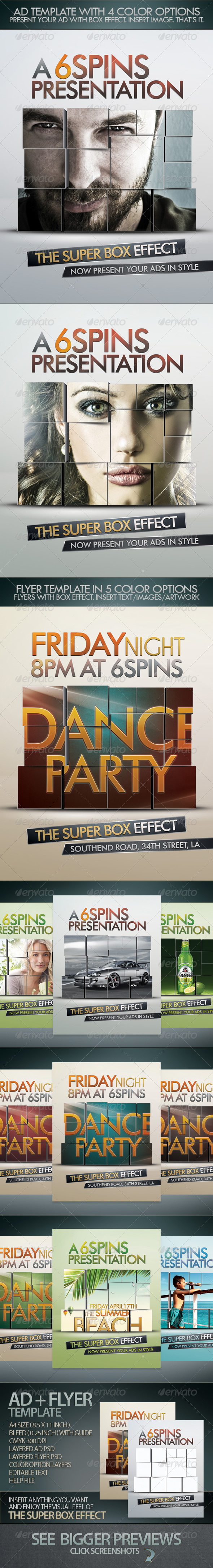 Ad And Party Flyer Template With Super Box Effect - Corporate Flyers