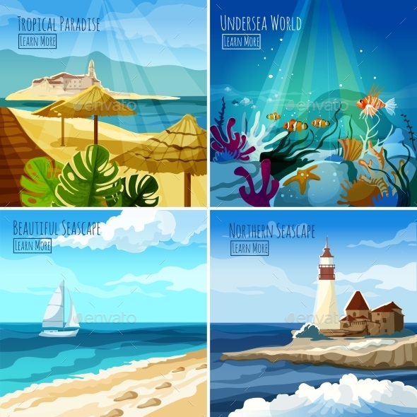 Seascape Illustrations Set - Travel Conceptual