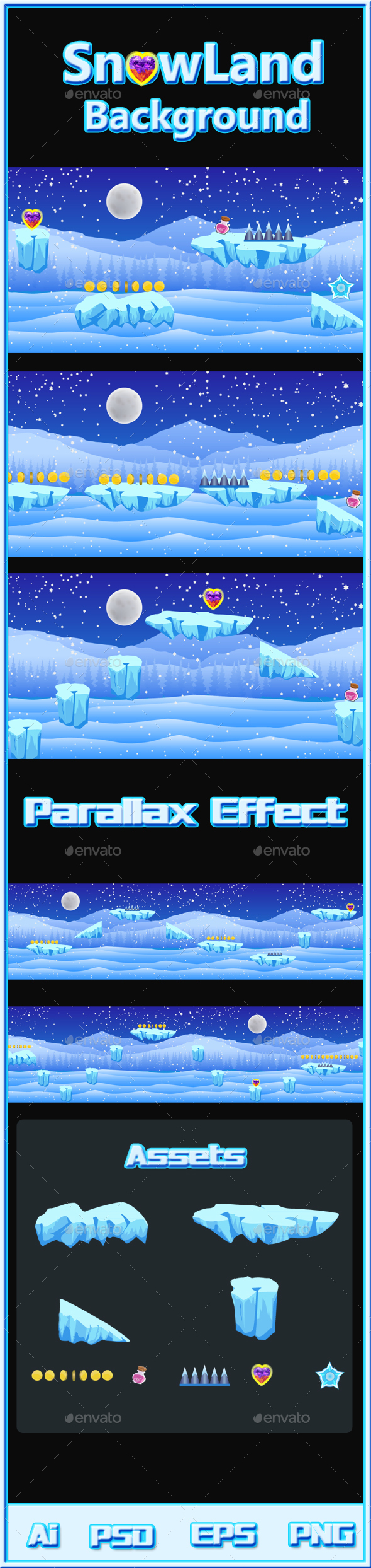SnowLand Background - Backgrounds Game Assets