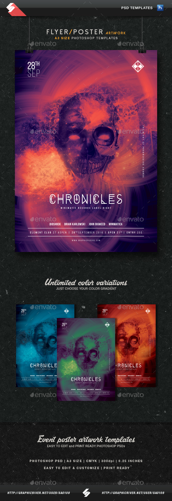 Chronicles - Party Flyer Artwork Template A3 - Clubs & Parties Events