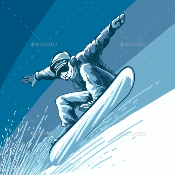 Snowboarding Theme With Jumping Snowbarder - Sports/Activity Conceptual