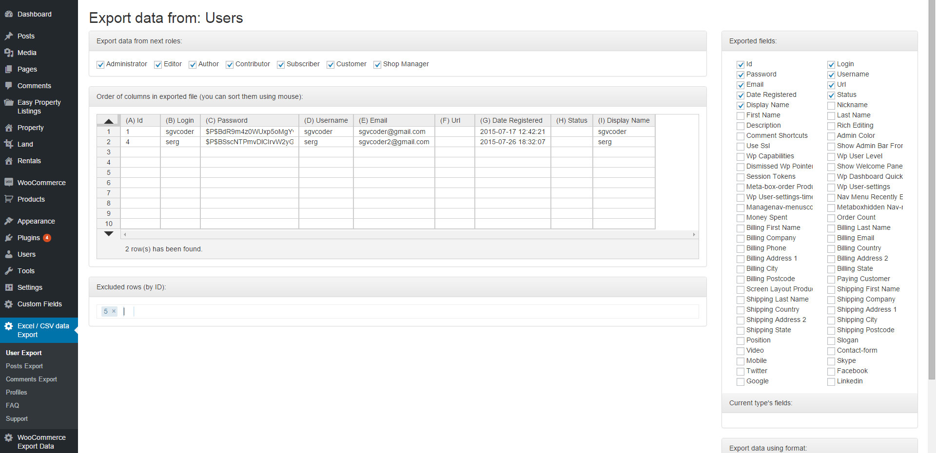 Export Wordpress Data to EXCEL or CSV file