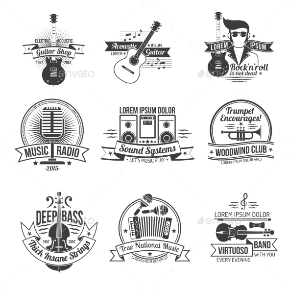 Music Label Set - Miscellaneous Vectors