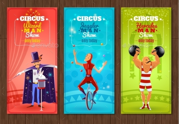 Travelling Circus Show Flat Banners Set - Miscellaneous Conceptual
