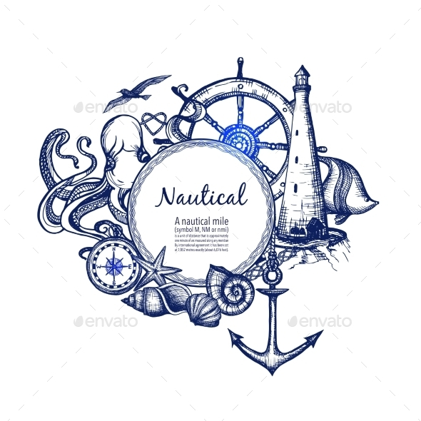 Nautical Marine Composition Icon Doodle  - Decorative Symbols Decorative