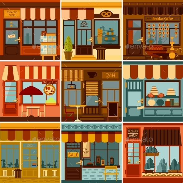 Restaurant And Shop Facades Set - Buildings Objects