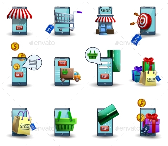 Mobile Commerce M-commerce 3d Icons Set  - Business Icons