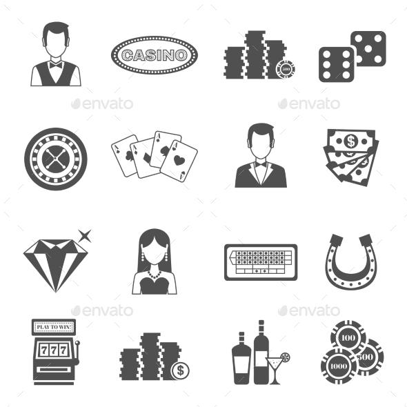 Casino Black White Icons Set  - Business Icons