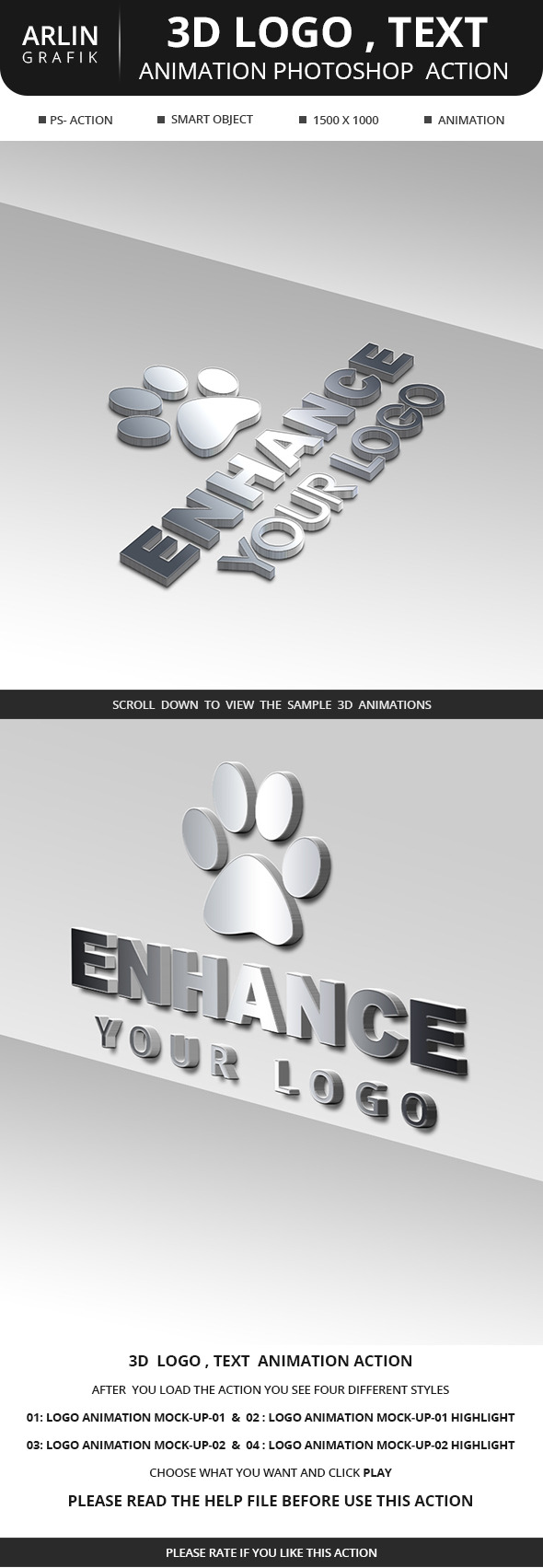 3D Logo , animation  photoshop Action - Utilities Actions