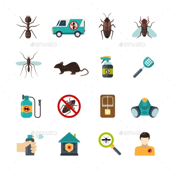 Exterminator Pest Control Flat Icons Set - Objects Icons