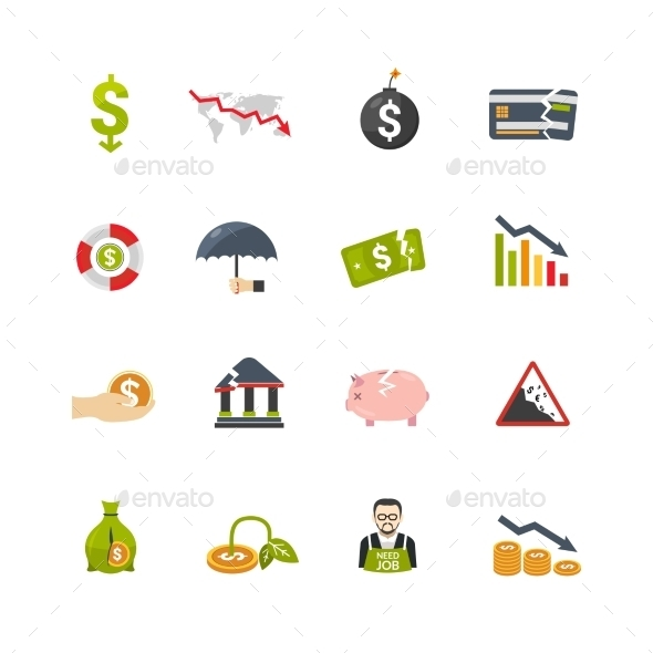Finantial Crisis Flat Icons Set - Business Icons