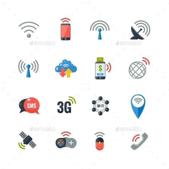 Wireless Technology Flat Icons Set - Technology Conceptual