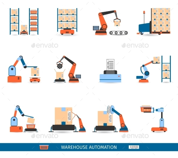 Warehouse Robots Icons Set - Technology Conceptual
