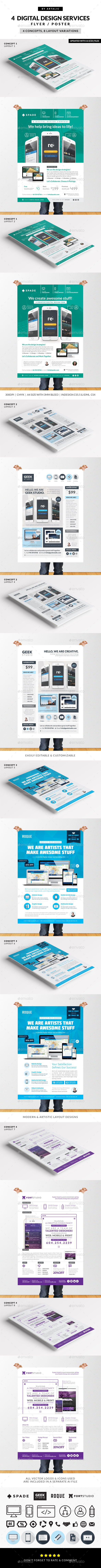 4 Design (Web/App/Graphic) Services Flyer/Poster - Corporate Flyers