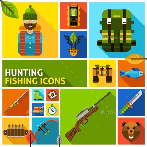 Hunting And Fishing Icons Set - Animals Characters
