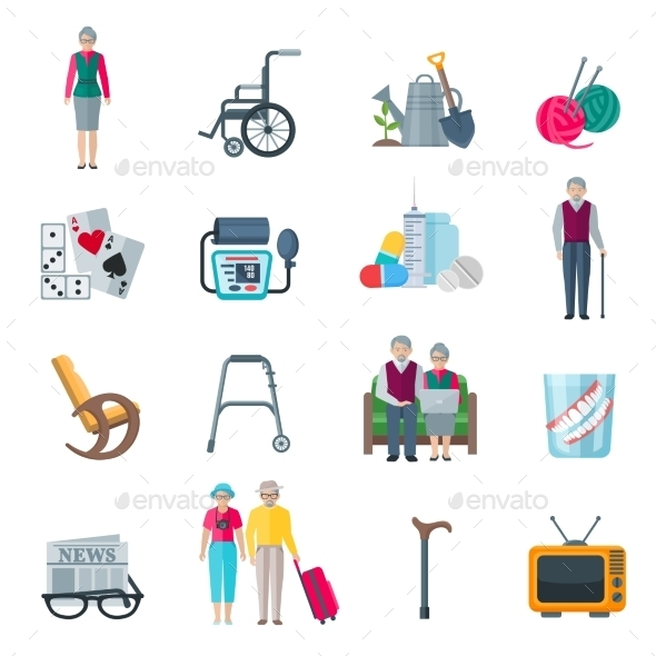 Pensioners Lifestyle Flat Icons  - Decorative Symbols Decorative