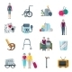 Pensioners Lifestyle Flat Icons  - GraphicRiver Item for Sale