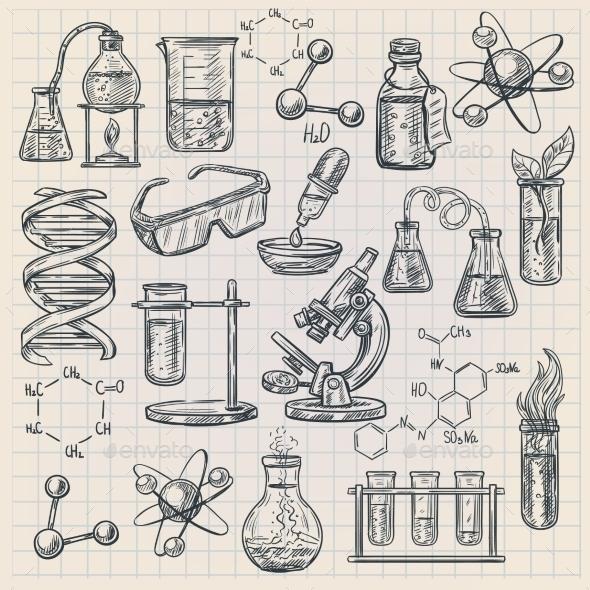 Chemistry Icon  In Doodle Style - Decorative Symbols Decorative