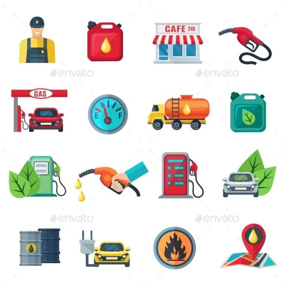 Gas Station Color Icons Set - Decorative Symbols Decorative