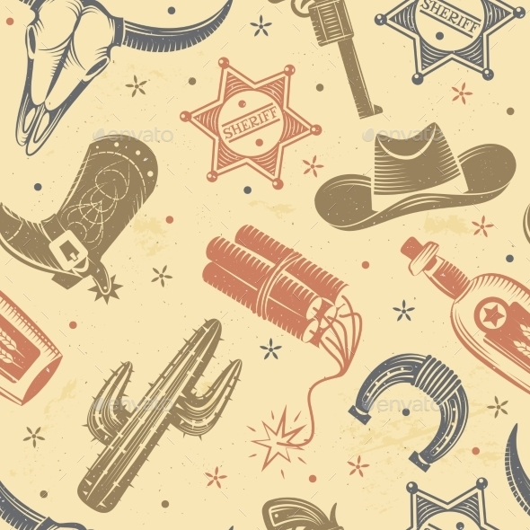 Cowboy Seamless Pattern  - People Characters