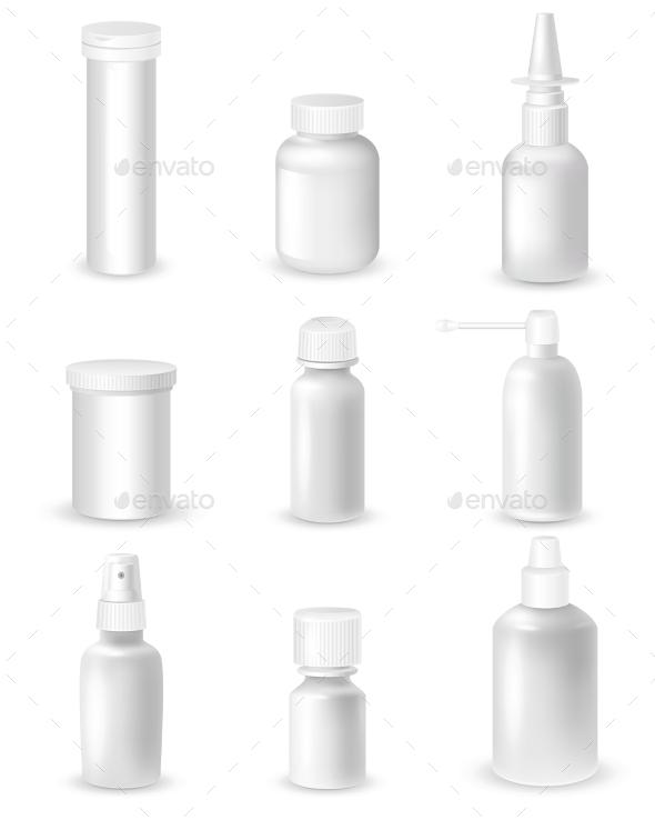 Medicine Bottles Set - Health/Medicine Conceptual