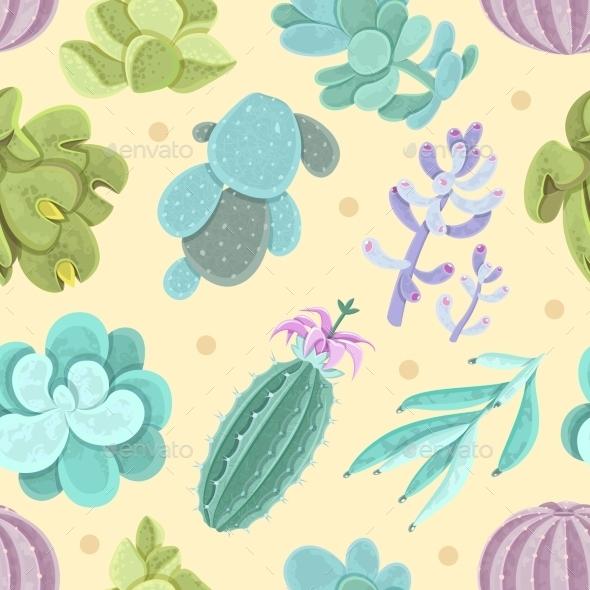 Cactus Seamless Pattern - Flowers & Plants Nature