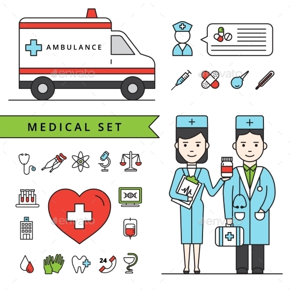 Medicine Concept Set With Ambulance And Doctors - Health/Medicine Conceptual