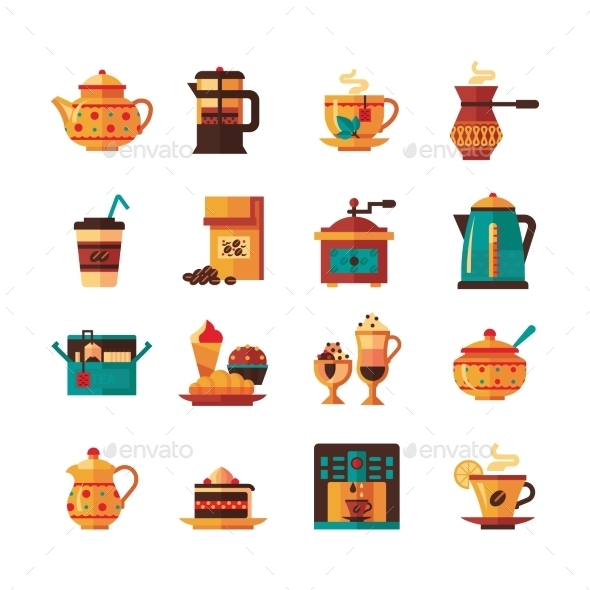 Coffe And Tea Set  Icons Flat  - Food Objects