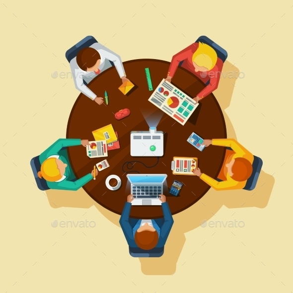 Business Meeting Top View Flat Poster - Business Conceptual