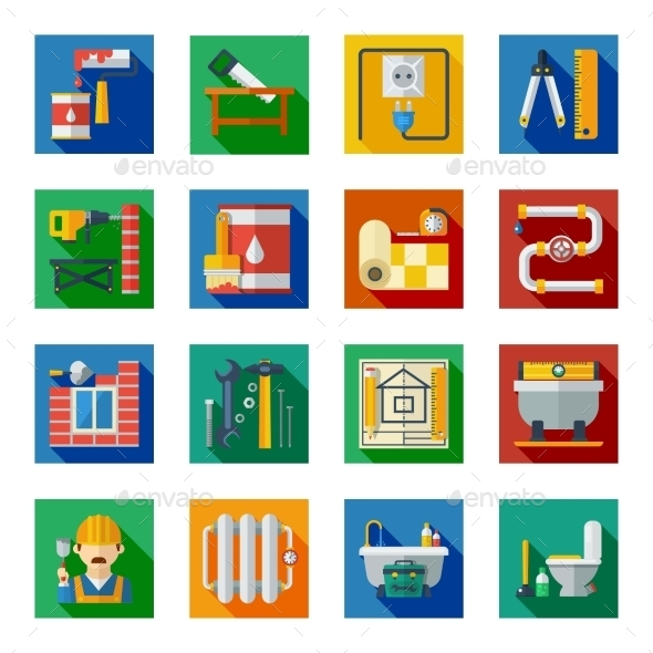 Home Repair Flat Square Icons Set - Buildings Objects