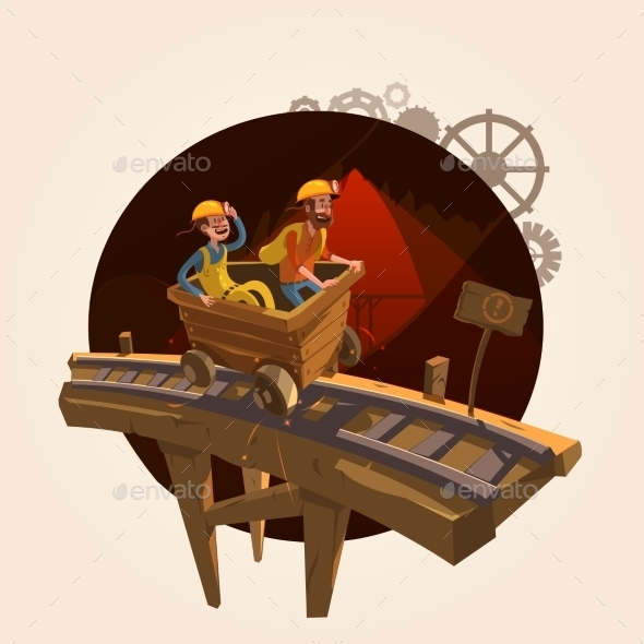 Mining Cartoon Concept - Decorative Symbols Decorative