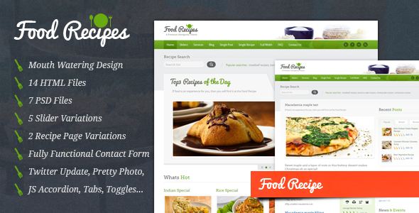 Free Download Food Recipes - HTML Template Nulled Latest Version
