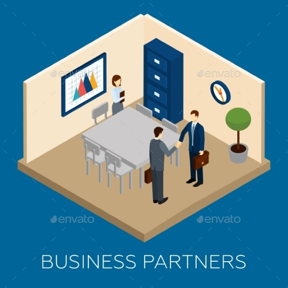 Partnership Concept Isometric - Business Conceptual