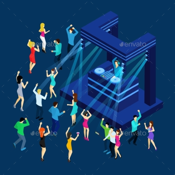 Dancing People Isometric Illustration  - People Characters