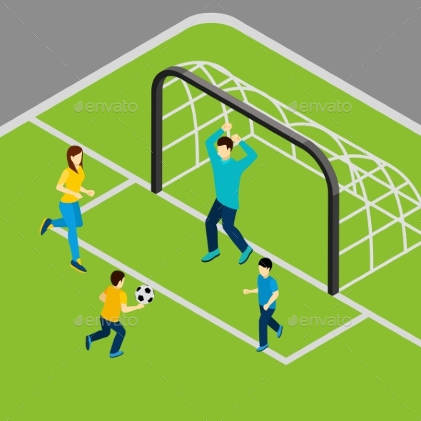 Playing Football Illustration  - Sports/Activity Conceptual