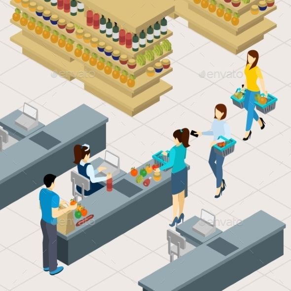 People At The Shopping Line Illustration  - Retail Commercial / Shopping