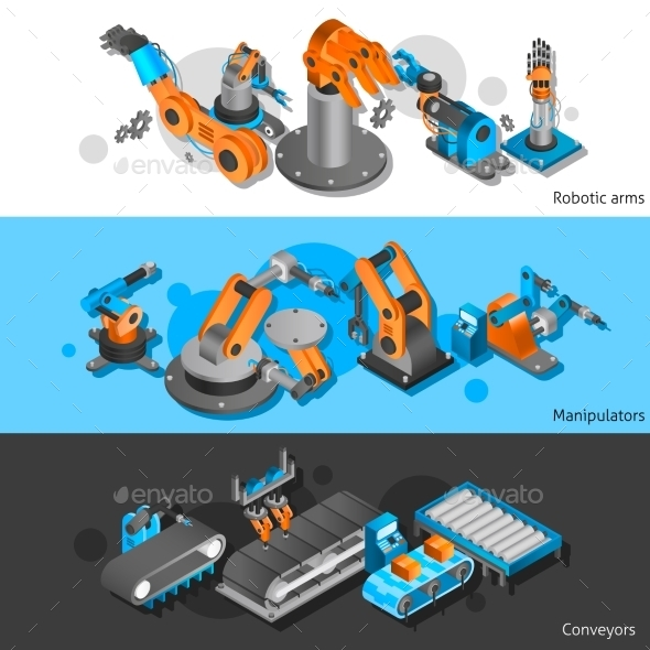 Industrial Robot Banner Set - Business Conceptual