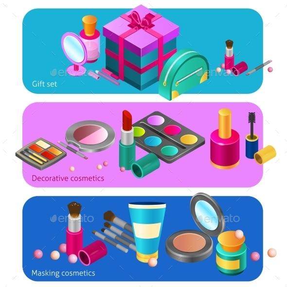 Cosmetics Isometric Banners - Miscellaneous Vectors