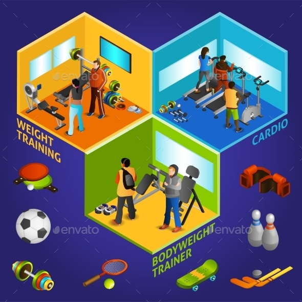 Sports Equipment Athletes Isometric 2X2 - Sports/Activity Conceptual