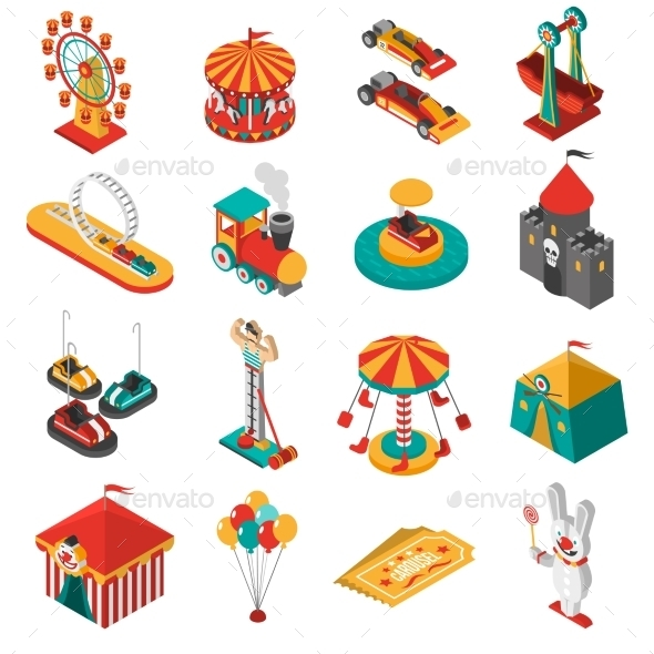 Amusement Park Isometric Icons Collection - Objects Icons
