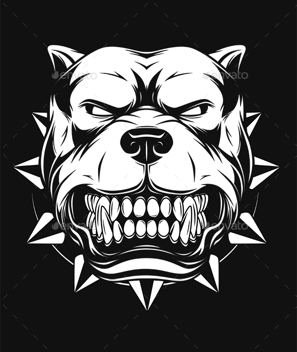 Vector Illustration Angry Pitbull - Animals Characters