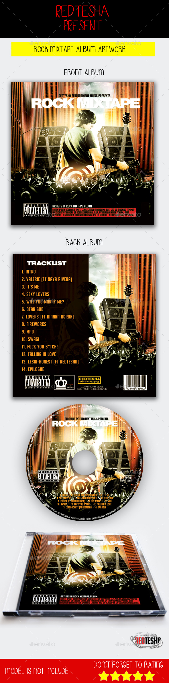 Rock CD Template Mixtape - CD & DVD Artwork Print Templates