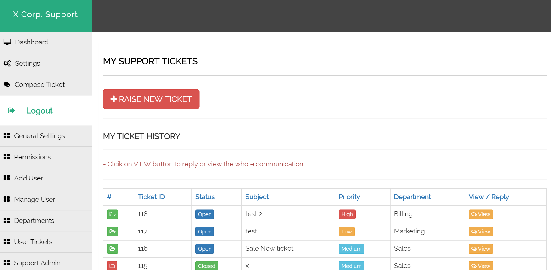 Support Ticket Master With Multiple Departments And Admins