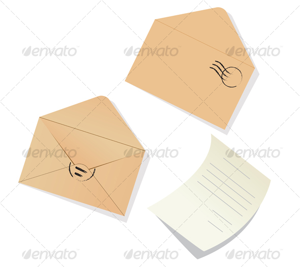 Letter and envelopes - Objects Vectors