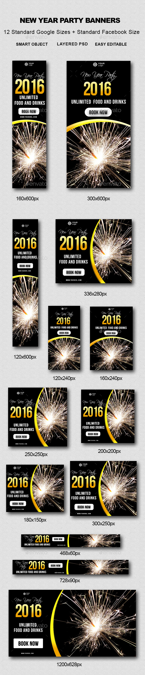 New Year Party Banners - Banners & Ads Web Elements
