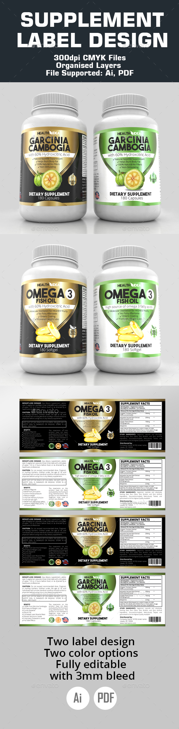 Supplement labels - Packaging Print Templates